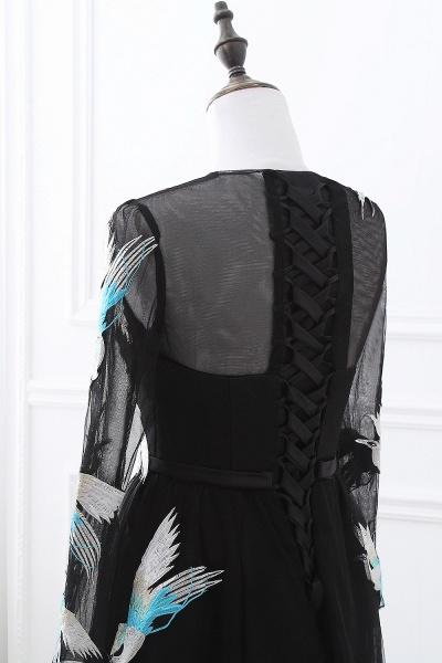 CHARLI | Sheath Round neck Embroidery Long Sleeves Black Prom Dress_8