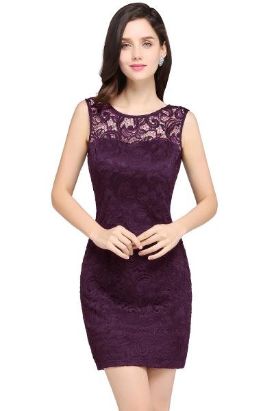 Elegant Scoop Lace Column Bridesmaid Dress_2