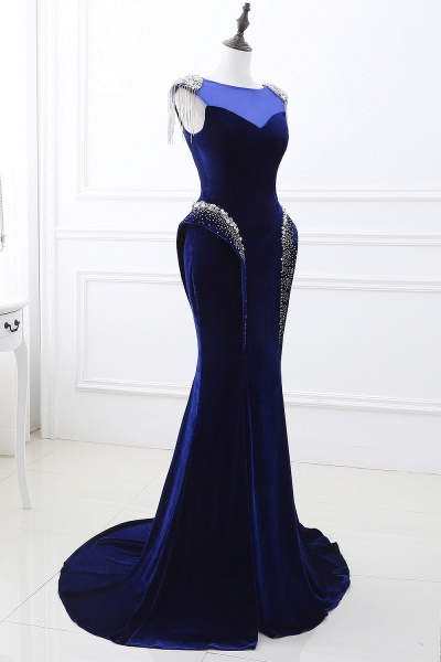 CHARLIE | Mermaid Velvet Navy Blue Royal Prom Dress with crystals_4
