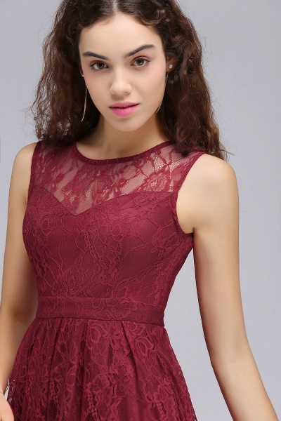 BRIELLE | A-Line Round Neck Short Lace Burgundy Homecoming Dresses_6