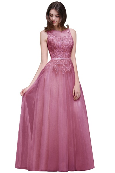 A-line Floor-Length Tulle Bridesmaid Dress With Lace_2
