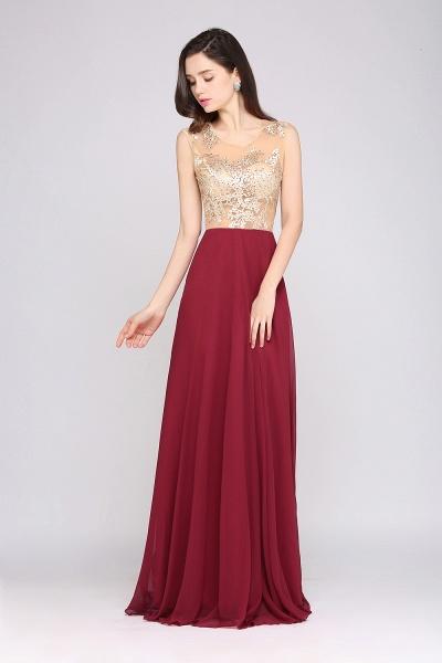 APRIL | A-line Scoop Chiffon Burgundy Pretty Evening Dresses_4