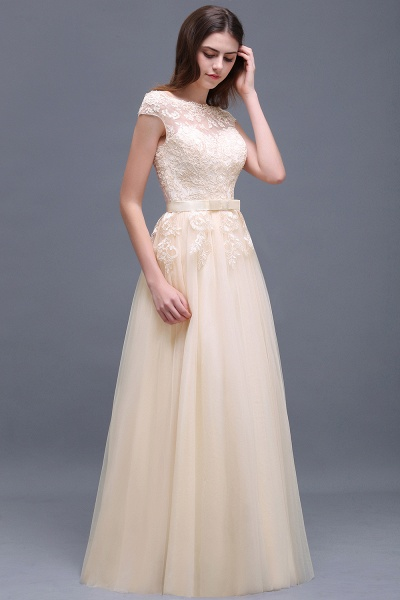 A-line Floor-Length Tulle Bridesmaid Dress With Lace Appliques_10