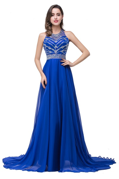 Eye-catching Jewel Tulle A-line Evening Dress_3