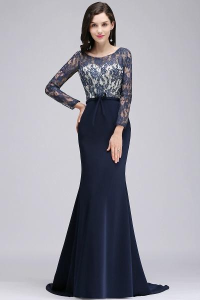 Long Sleeves Satin Mermaid Floor Length Bridesmaid Dress_1