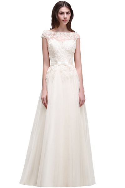 A-line Floor-Length Tulle Bridesmaid Dress With Lace Appliques_1