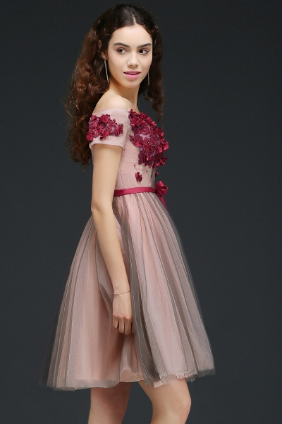 Sleek Off-the-shoulder Tulle A-line Homecoming Dress_5