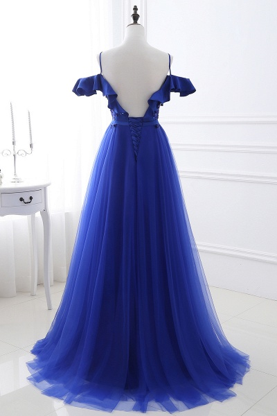 CHANEL   Ball Gown Off-the-shoulder Floor-length Blue Tulle Prom Dress_3