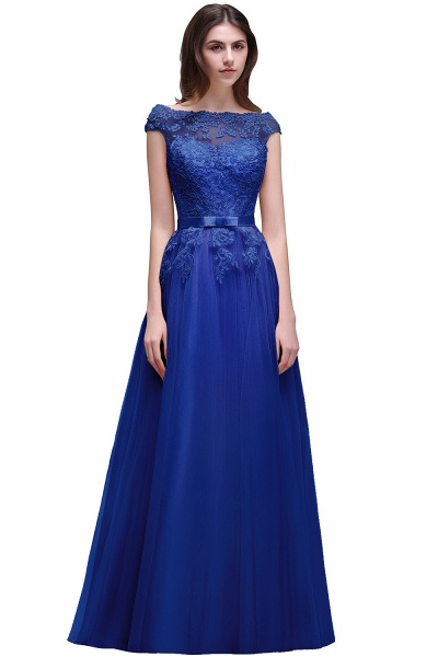 A-line Floor-Length Tulle Bridesmaid Dress With Lace Appliques_4