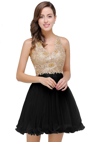 Short Tulle A-line V-Neck Appliques Sleeveless Prom Dresses_3