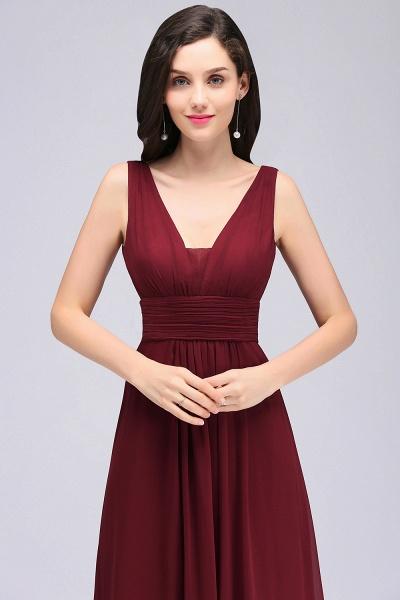 V-neck Chiffon Column Floor Length Bridesmaid Dress_7