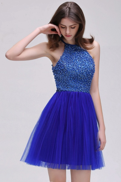 CAITLYN   A-line Halter Neck Short Tulle Royal Blue Homecoming Dresses with Beading_7