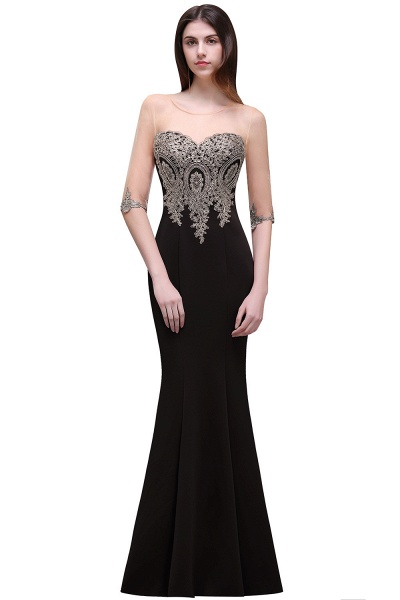 Sleek Jewel Satin Column Evening Dress_2