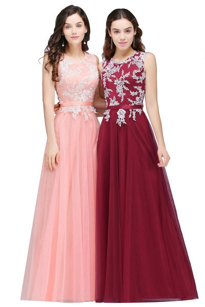 CARLY | A-line Jewel Neck Long Tulle Pink Prom Dresses with Sash_2