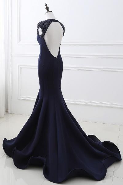 CAMILLA | Mermaid V-Neck Dark Navy Prom Dresses with Beading_5