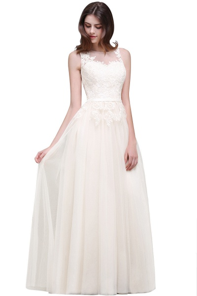 A-line Floor-Length Tulle Bridesmaid Dress With Lace_1