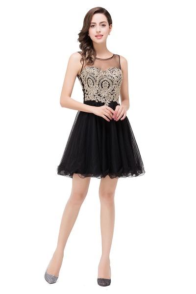 A-line Crew Short Sleeveless Appliques Prom Dress_9