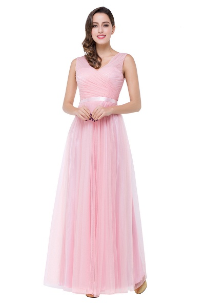ELLIOT | A-line Sleeveless V-neck Floor-length Tulle Bridesmaid Dresses_4