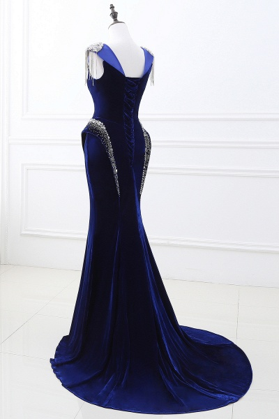 CHARLIE | Mermaid Velvet Navy Blue Royal Prom Dress with crystals_3