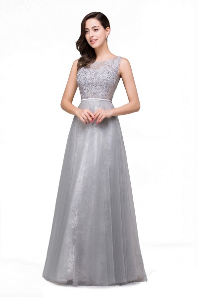 FRANKIE | A-Line Sleeveless Illusion Floor-Length Tulle Prom Dresses with Embroidered Flowers_1