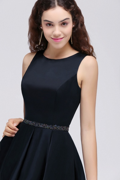 BRIANNA | A-Line Round Neck Short Dark Navy Homecoming Dresses With Crystal_7