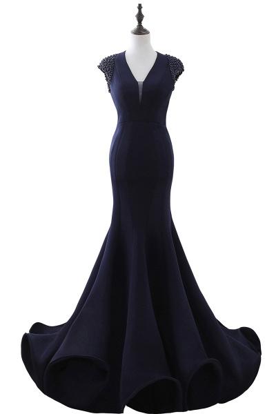 CAMILLA | Mermaid V-Neck Dark Navy Prom Dresses with Beading_2