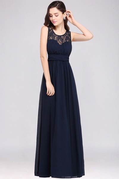 CHELSEA | Sheath Round neck Floor-length Navy Blue Prom Dress_6
