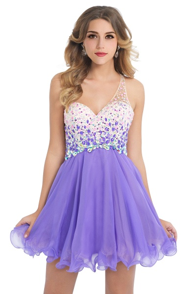 Elegant One Shoulder Chiffon A-line Evening Dress_2