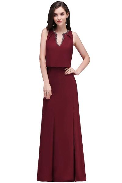 V-neck A-line Floor Length Bridesmaid Dress_2