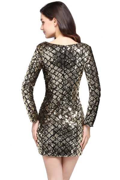 Awesome V-neck Sequined Column Homecoming Dress_4