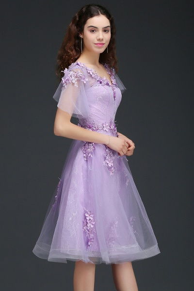 ALIANA | A Line V Neck Lilac Short Cocktail Homecoming Dresses With Sleeve_3