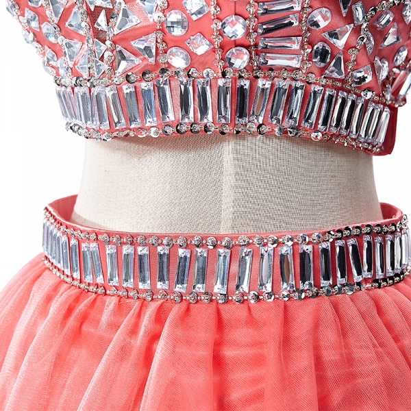 ELISE | Two-piece Halter Sleeveless Short Tulle Prom Dresses with Crystal Beads_13