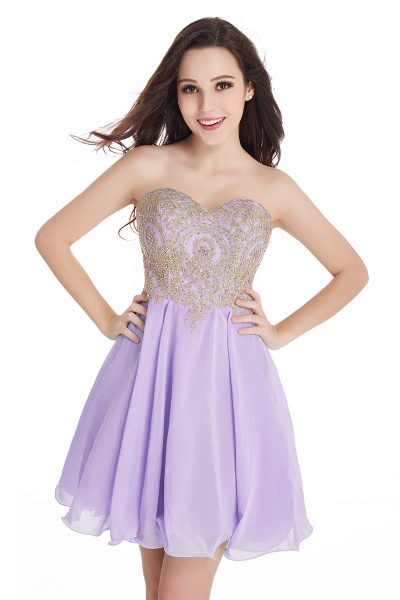 A-Line Strapless Short Chiffon Prom Dresses with Beadings_4