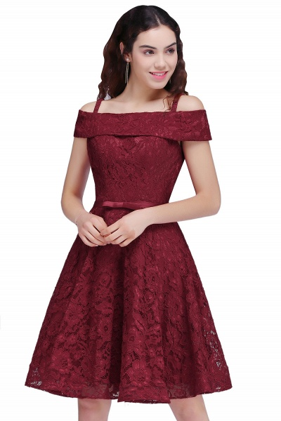 BRISTOL | A-Line Spaghetti Straps Short Lace Burgundy Homecoming Dresses_1