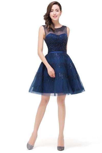FATIMA | A-Line Sleeveless Crew Tulle Appliques Short Prom Dresses_4