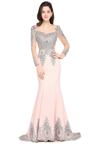 ARELY | Mermaid Sweep Train Pink Elegant Evening Dresses with Appliques_4