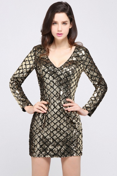 Awesome V-neck Sequined Column Homecoming Dress_7