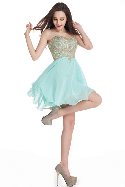 A-Line Strapless Short Chiffon Prom Dresses with Beadings_11