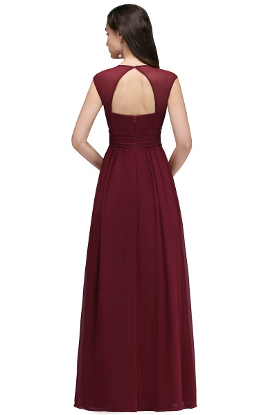 V-neck Cap Sleeves Chiffon Column Floor Length Bridesmaid Dress_10