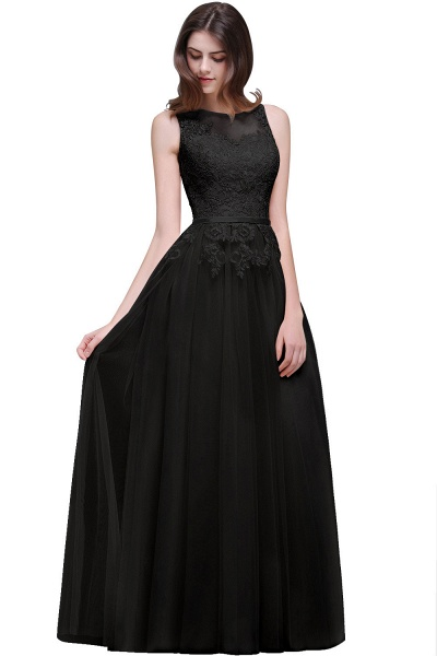 A-line Floor-Length Tulle Bridesmaid Dress With Lace_6