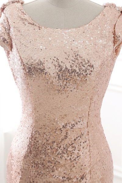 COURTNEY | Fit and Flare Sweep train Sequined Rosy Golden Prom Dress_5