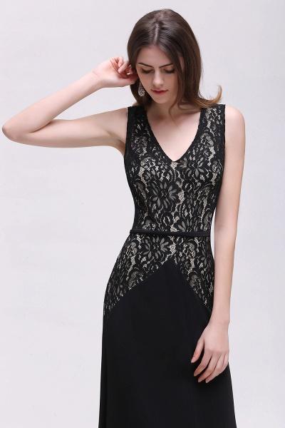 BRYANNA   A-line V-Neck Long Lace Black Prom Dresses with Sash_6