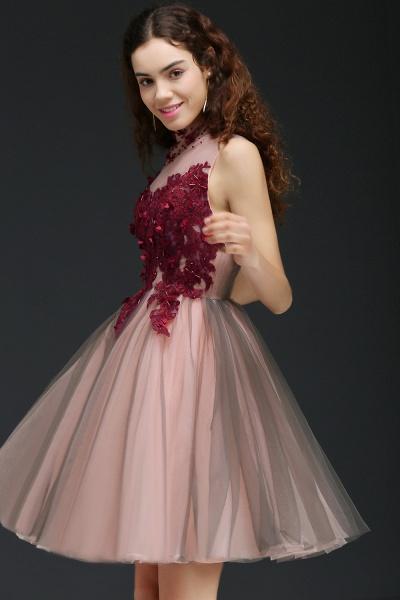 Exquisite High Neck Satin A-line Homecoming Dress_3