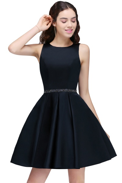 BRIANNA | A-Line Round Neck Short Dark Navy Homecoming Dresses With Crystal_1