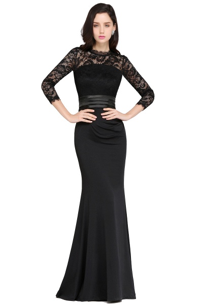 ARIANNA | Sheath High Neck Black Elegant Evening Dresses with Lace_5