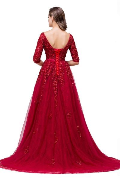 FRANCES | A-Line Floor-Length V-neck Half Sleeves Lace Appliques Prom Dresses_3