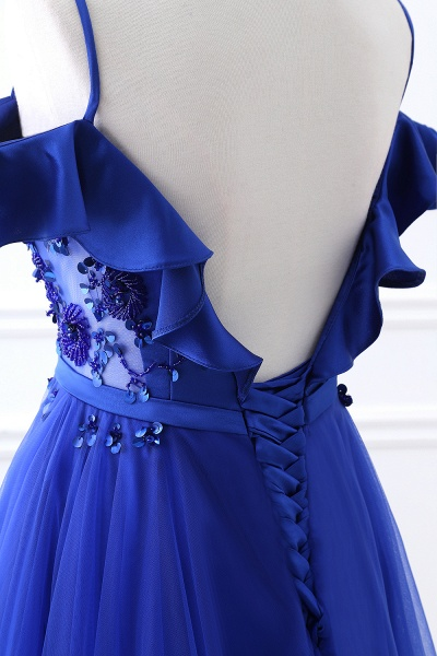 CHANEL   Ball Gown Off-the-shoulder Floor-length Blue Tulle Prom Dress_7