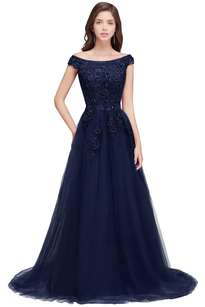 Sleek Off-the-shoulder Tulle A-line Evening Dress_3