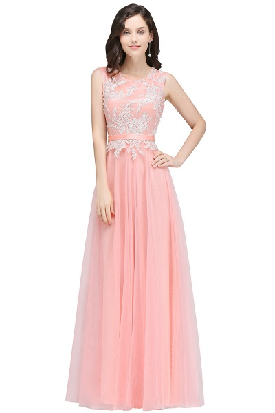 CARLY | A-line Jewel Neck Long Tulle Pink Prom Dresses with Sash_4