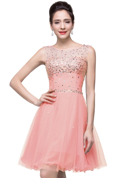 ELIN | A-line Sleeveless Crew Short Tulle Prom Dresses with Crystal Beads_1